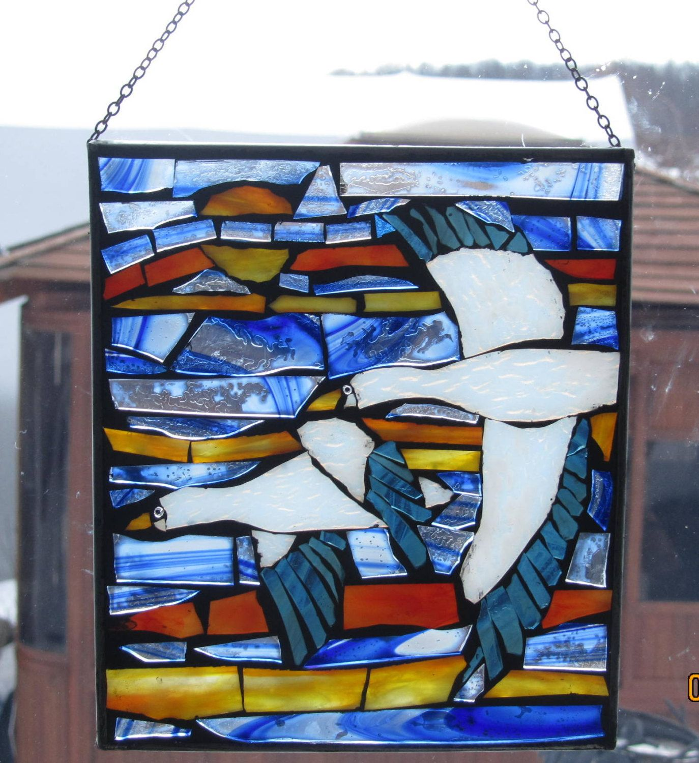 Snow Geese ,  Stained Glass Mosaic. $29.00, via Etsy.