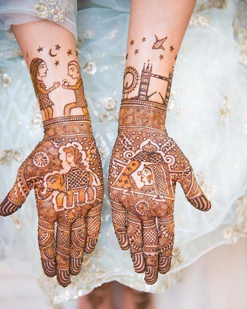 Personalised mehendi design telling stories!   ZoWed  #zowed #indianwedding #indianbride #mehendidesigns #henna #bridalmehendi #mehendiinspiration #mehendigoals #mehendiideas #mehendishoot #mehendiphotography #proposalmehendidesigns #henna