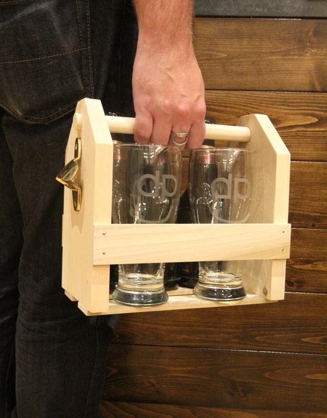 Wood Beer Carrier & Custom Monogrammed Glasses - The Perfect DIY Gift for Men