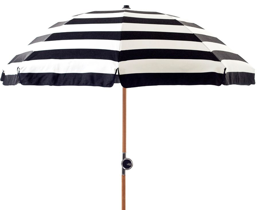 Black And White Striped Beach Umbrella Via Gardenista