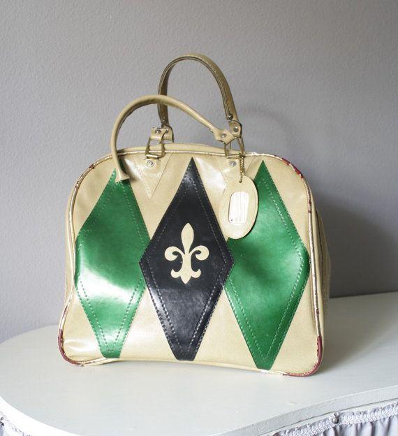 Vintage Bowling Ball Bag Tote 1960 S Flur De Lis Etsy Bowling Bags Bags Vintage Bags