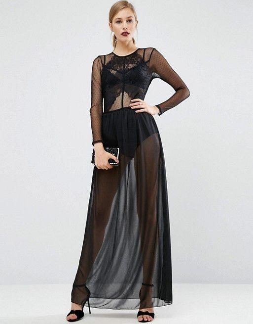 5b03d76ce50 Lace Top Dobby Mesh Maxi Dress