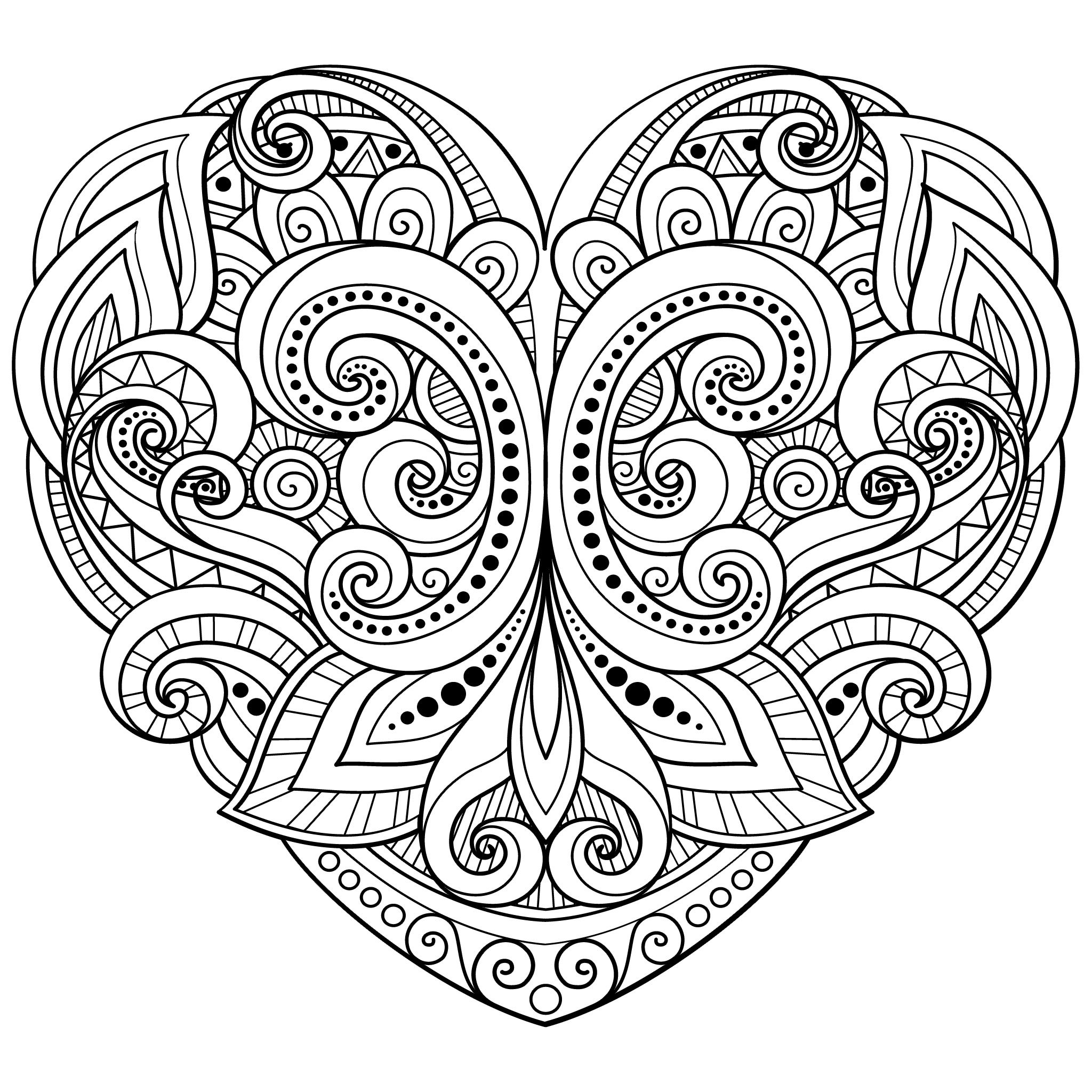 Love heart coloring page | Heart coloring pages, Love ...