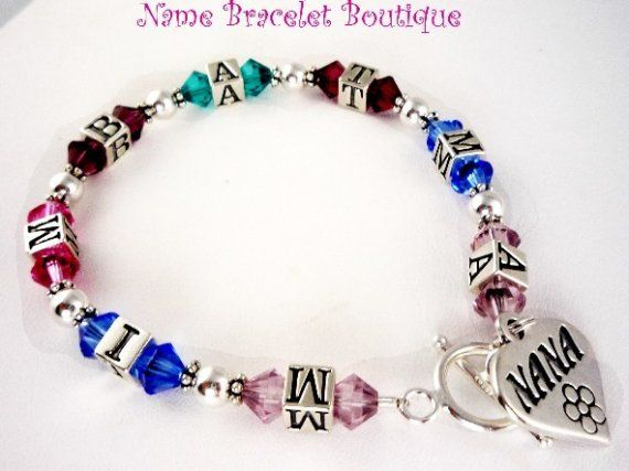 Grandma Bracelet Grandmother Nana Personalized Sterling Silver Birthstone Custom Child Name Great Gift