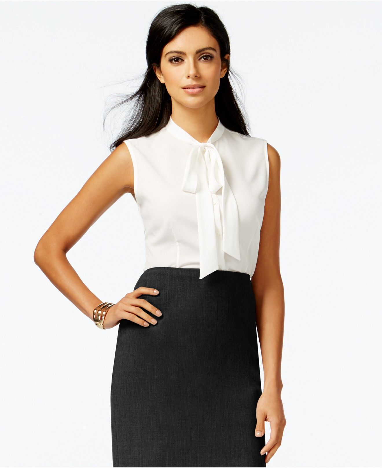 e8606cacac766 Anne Klein Sleeveless Tie-Neck Blouse - Tops - Women - Macy's ...