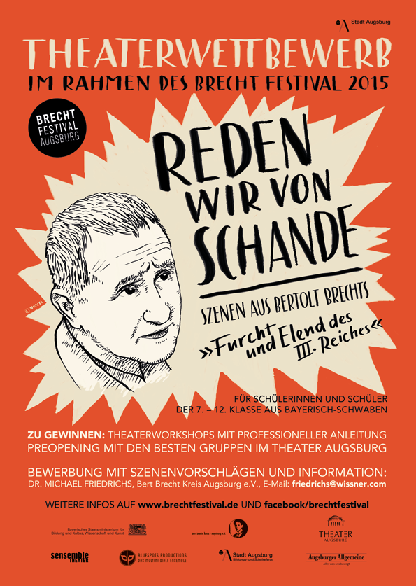 Poster design and Illustration for a theater competition for high school theater-groups as part of Brecht Festival Augsburg 2015. The students performed scenes of Bertolt Brecht's »Furch und Elend des III. Reiches« (engl.: »Fear and Misery of the Third Reich«).