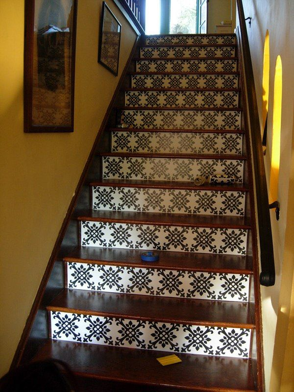 Tile And Wood Stair Idea Floor Stairs Pinterest
