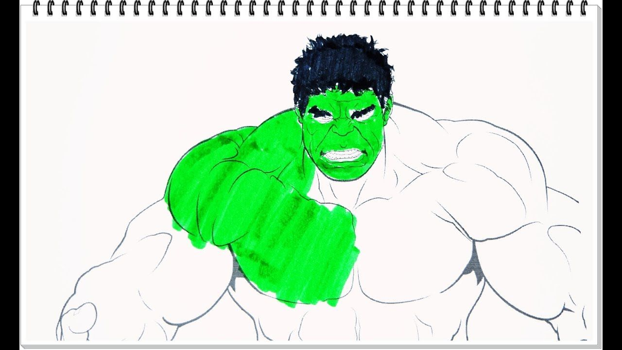 Coloring Book Pages Kids Draw and Color Hulk Marble Heroes Learning ...