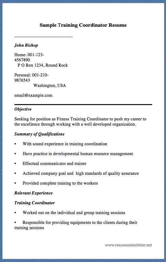 Sample Training Coordinator Resume John Bishop Home 001 123 4567890 Sample Resume Templates Resume Design Template John Bishop