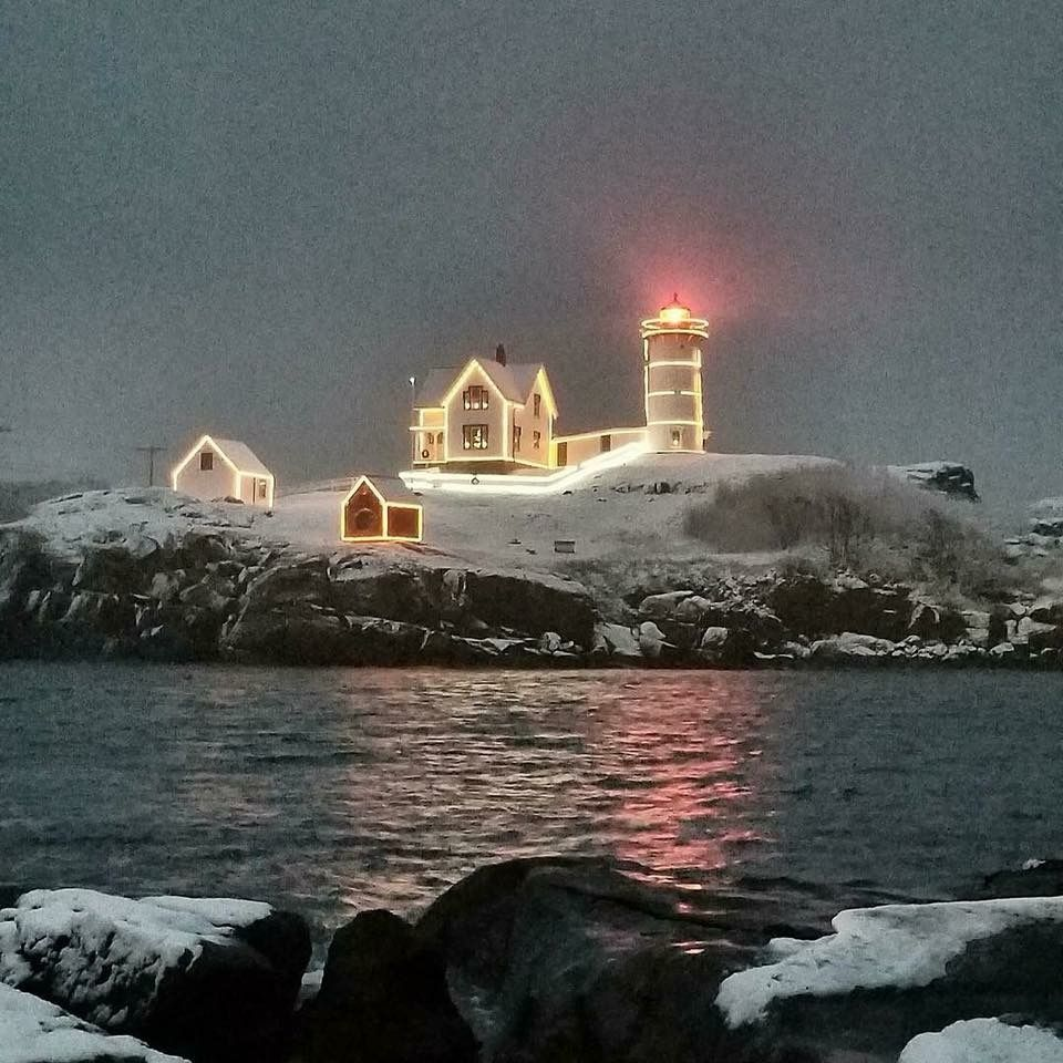 First December snow fall at Nubble Lighthouse in Maine | lighthouses ...