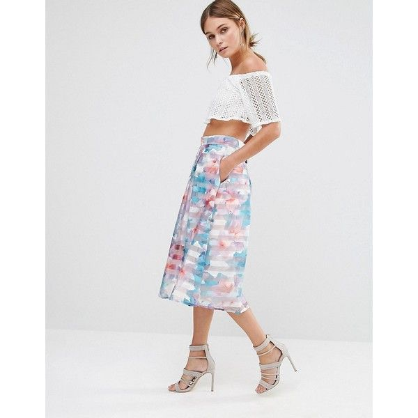 Oasis Digital Floral Midi Skirt ($92) ❤ liked on Polyvore featuring skirts, white, pocket skirt, ivory midi skirt, high waisted floral skirt, flower print skirt and ivory skirt
