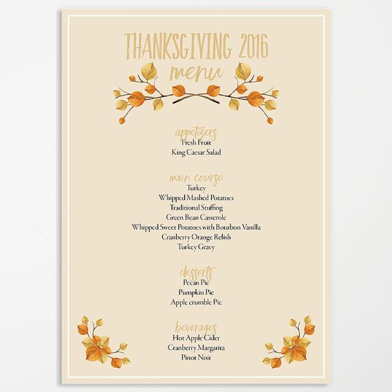 Thanksgiving 2019 Printable Thanksgiving Menu Template Etsy In 2021 Printable Menu Template Free Printable Menu Template Menu Template