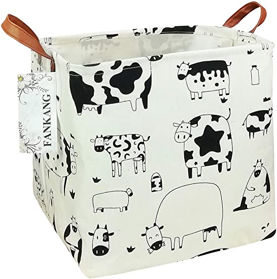 Clothes Office FANKANG Storage Bins Nursery Hamper Canvas Laundry Basket Foldable with Waterproof PE Coating Large Storage Baskets Gift for Kids Bedroom Toys Baby Shower Basket Cows