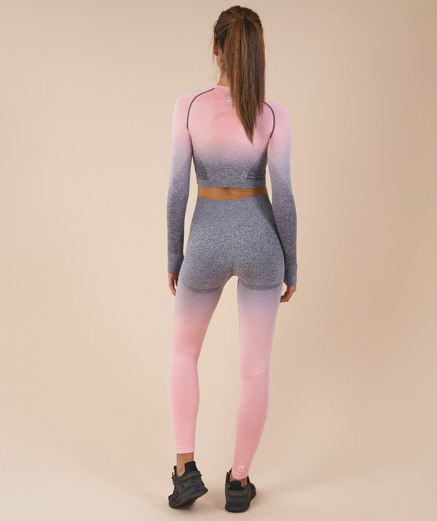33ab5878685016 Gymshark Ombre Seamless Crop Top - Peach Pink Charcoal 2