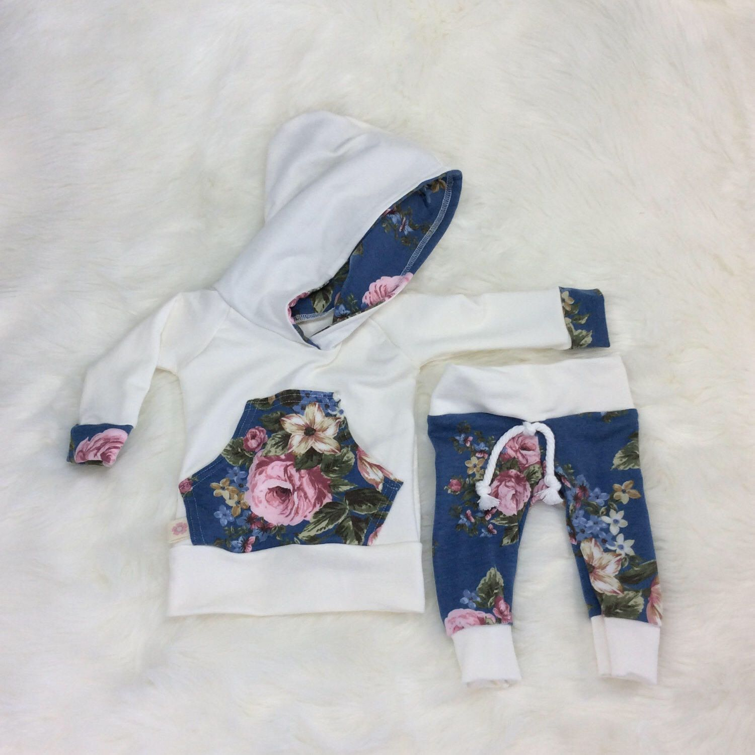 Baby girl hoodie and sweats, newborn baby girl outfit, girl take ...