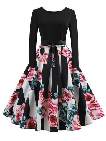 e78350291eb stripedshirt And  floraldesign  Print  Dress