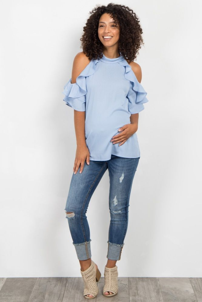 7f36a2081101e0 Light Blue High Neck Ruffle Cold Shoulder Maternity Top in 2019 ...