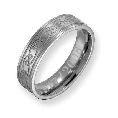 spectacular mens mm engraved titanium celtic knot wedding band characters personalized rings - Mens Celtic Wedding Rings