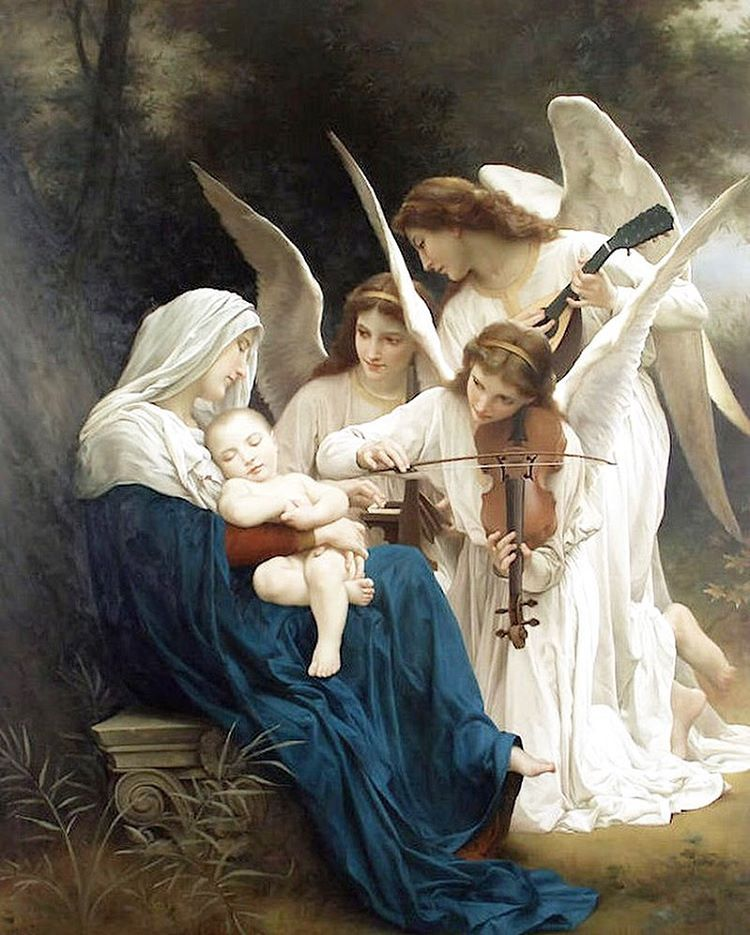 William-Adolphe Bouguereau (1825-1905) - Song of the Angels (1881) #art  #arthistory #historyofart #paintingsd… | William adolphe bouguereau,  Catholic art, Angel art