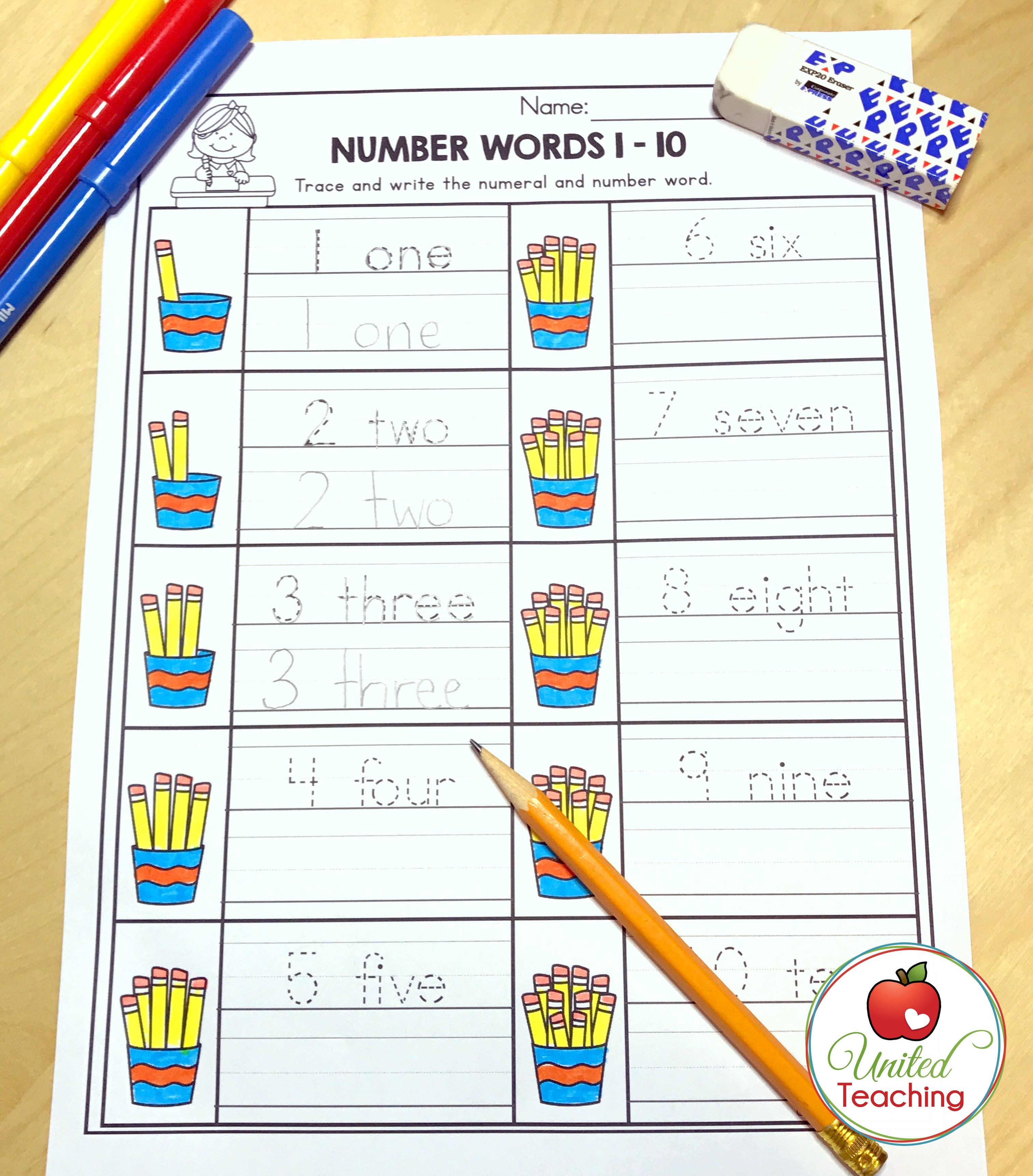 Counting Numbers Number Words And Handwriting Al In One