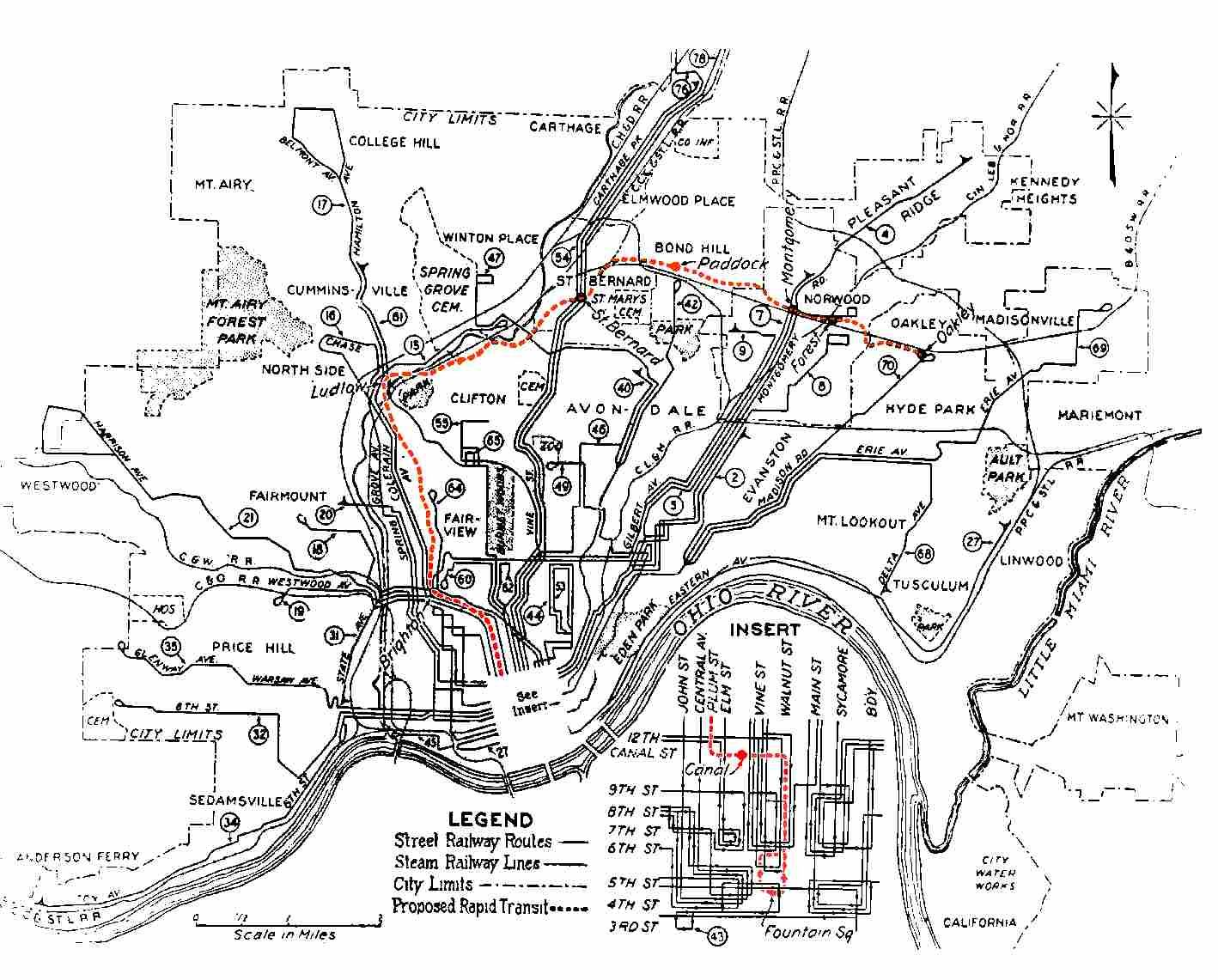 Cincinnati Subway Map.Old Cincinnati Subway Plan Map 1920s Never Built Transit In