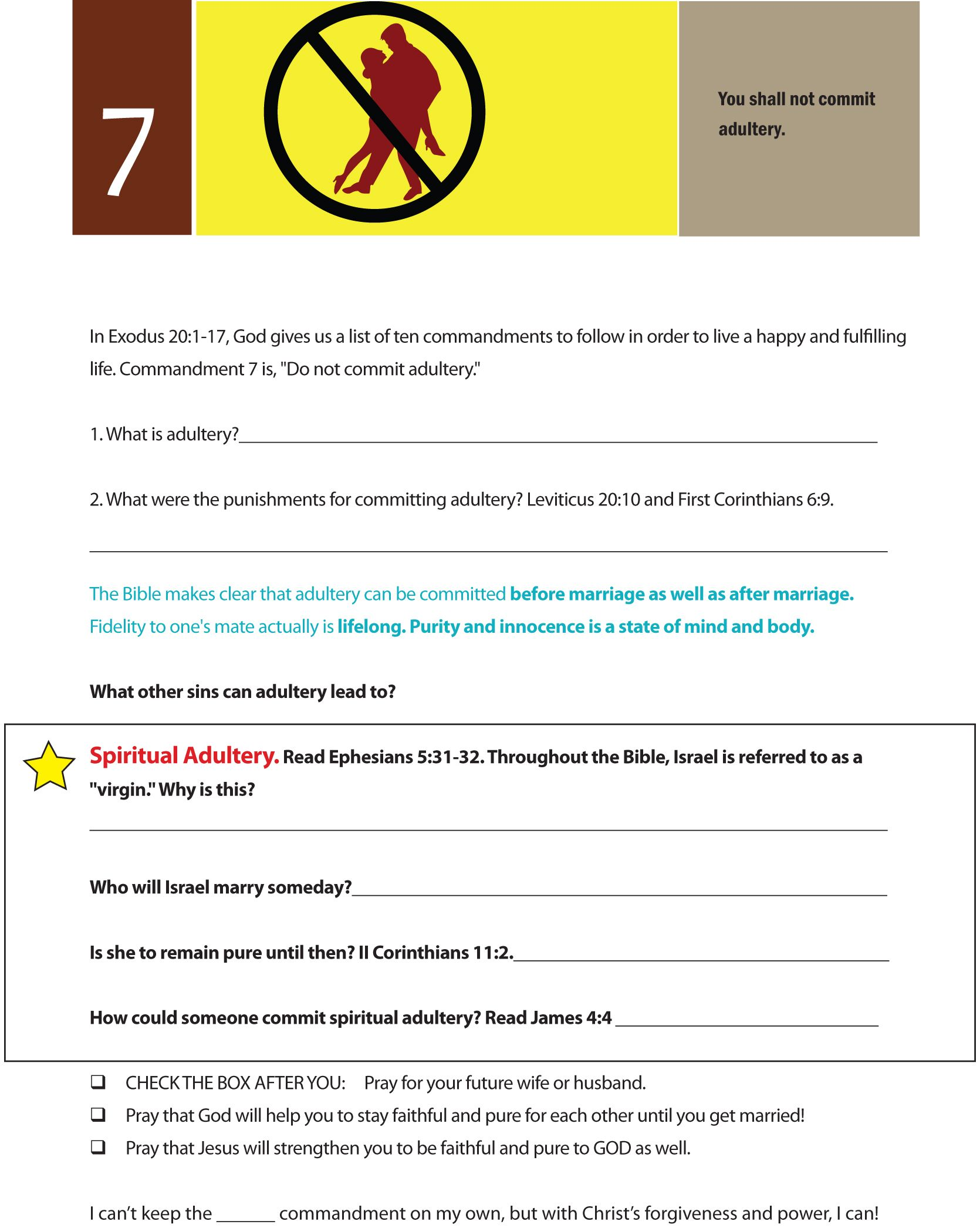 Worksheet To Teach The Seventh Of The 10 Commandments Do