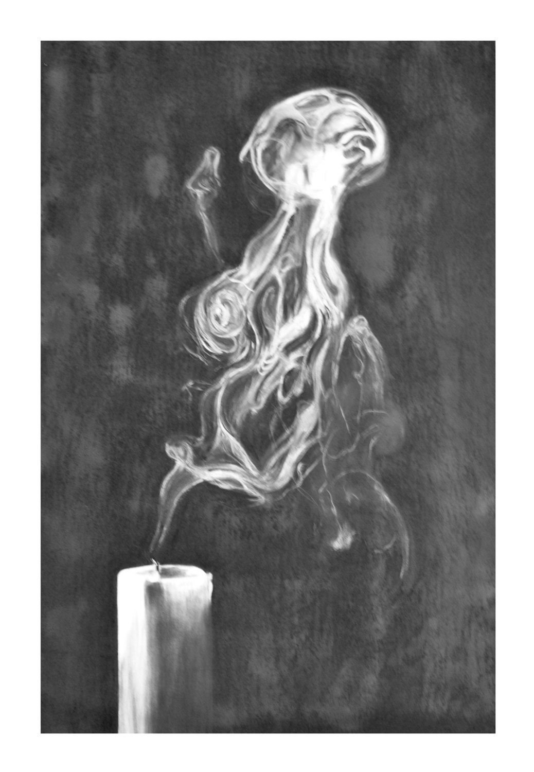 Art print of original drawing letting go by emily may carson candle smoke black white wax modern charcoal by carsonartworks on etsy