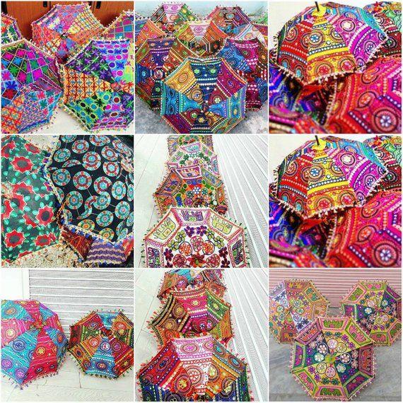 ad713a4cf7c2e Handwork umbrella with Thread Embroidery, Patch Work indian parasol  ,decorative cotton sun umbrella