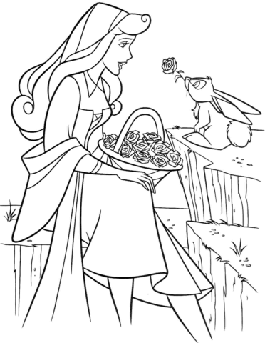 Aurora with Rabbit Coloring page | Sleeping Beauty | Pinterest