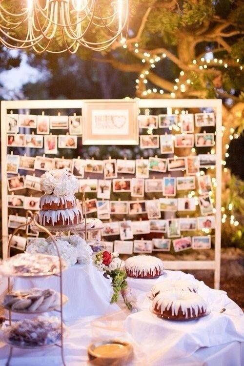 "uniqueweddingdecor: ""A photo wall that tells the happy couple's love story! """