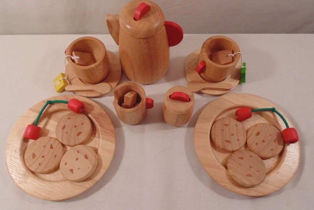 Used Toys For Toddlers : Toy tea and cookie set 25 pcs wood toddler children kids toys cups