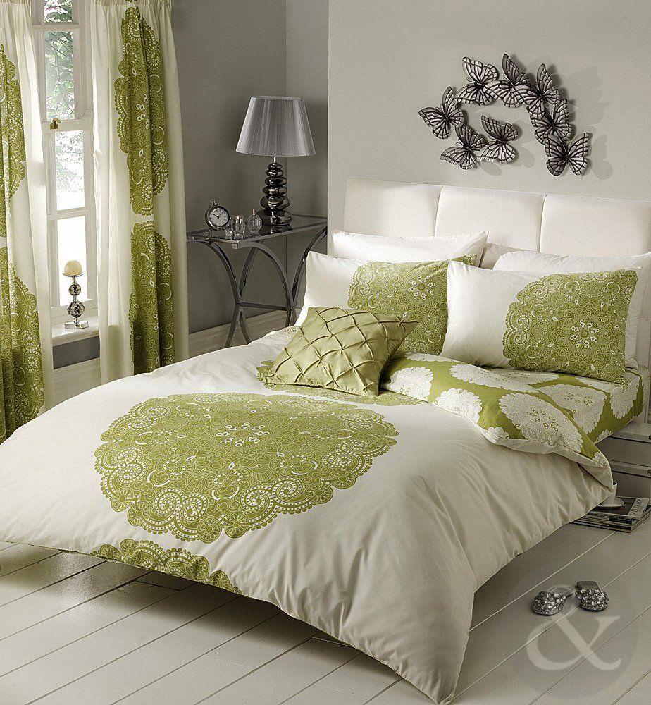 Copripiumino in policotone moderno set di biancheria da letto verde lime crema moss pistacchio - Biancheria letto matrimoniale ...