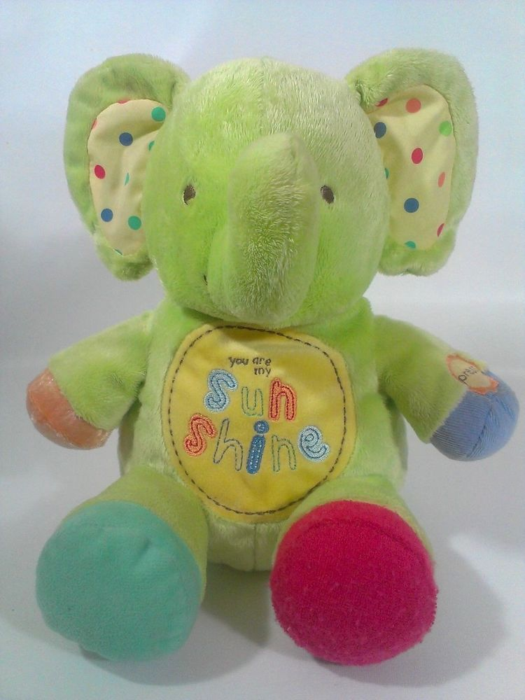 Carter S You Are My Sunshine Green Elephant Musical Motion Plush