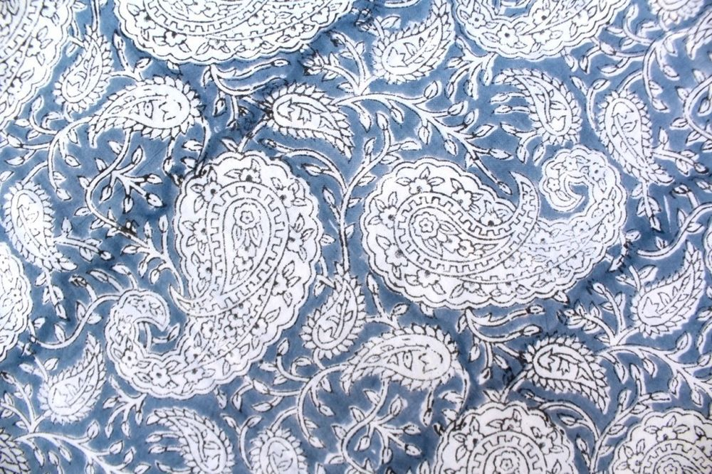 Dressmaking Hand Block Print Cotton Voile Fabric Sewing Material By The Yard