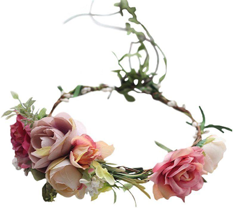 Vivivalue Boho Rose Flower Wreath Headband Crown Halo Floral Hair
