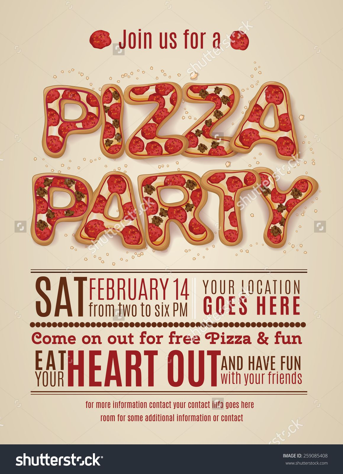 Pizza Party Invitation Template Free Invitation Templates Design - Party invitation template: club party invitation template