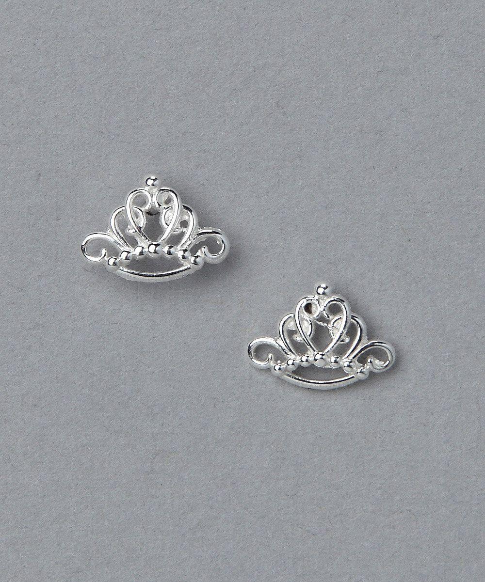 Sterling Silver Princess Tiara Earrings