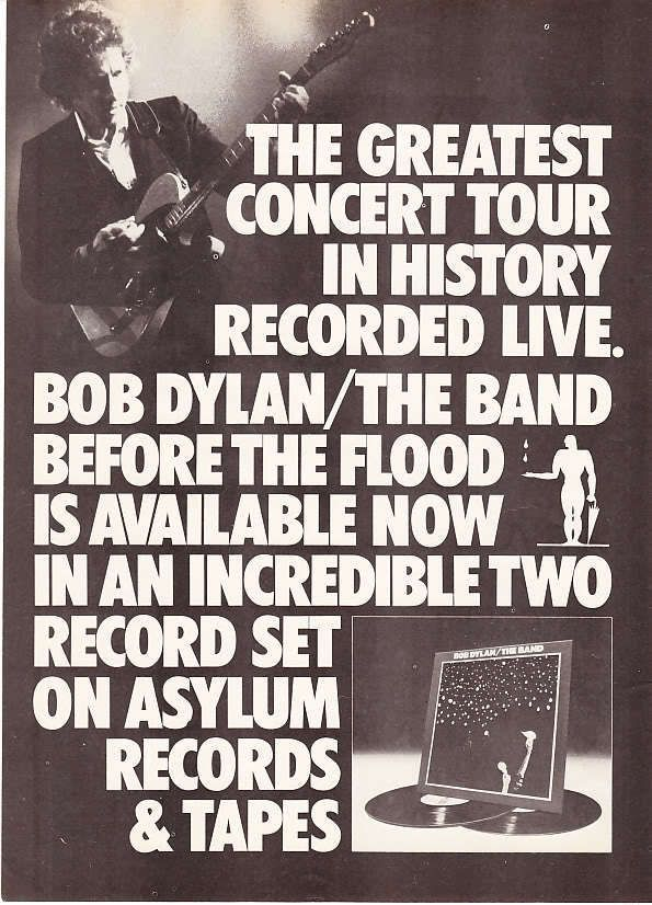 1974 Bob Dylan The Band Before The Flood Promo Ad Bob Dylan Dylan Before The Flood
