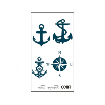 4 Pcs Hot Fashion Compass Anchor Temporary Non-toxic Tattoo Stickers