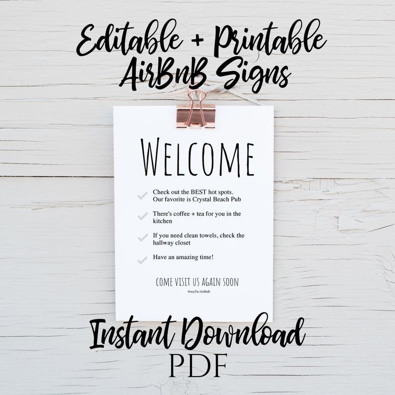 INSTANT DOWNLOAD AirBnB Printable Signs Wifi and