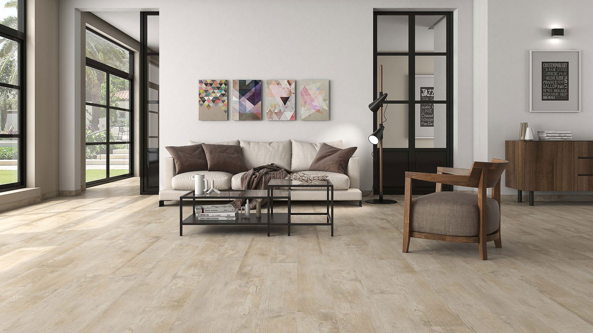 Pin By Catherine Tan On Wooden Floor Tiles Tile Floor Living Room Living Room Tiles Dark Wood Living Room