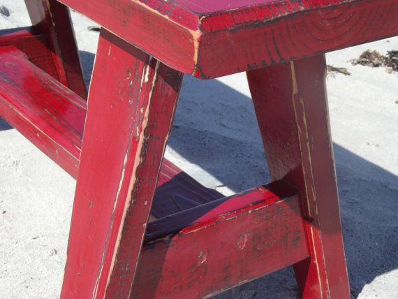 Weathered Cherry Red Bench by RusticRescuer on Etsy, $100.00.