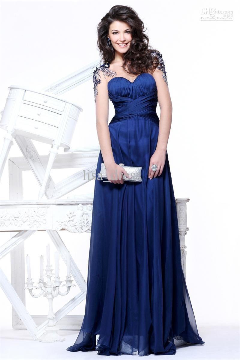 Cheap navy blue prom dress