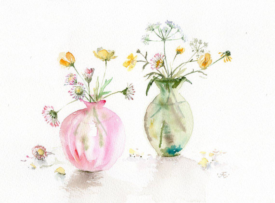 Fleurs Peinture Cadeau Art Aquarelle Originale Rose Et Vert Etsy