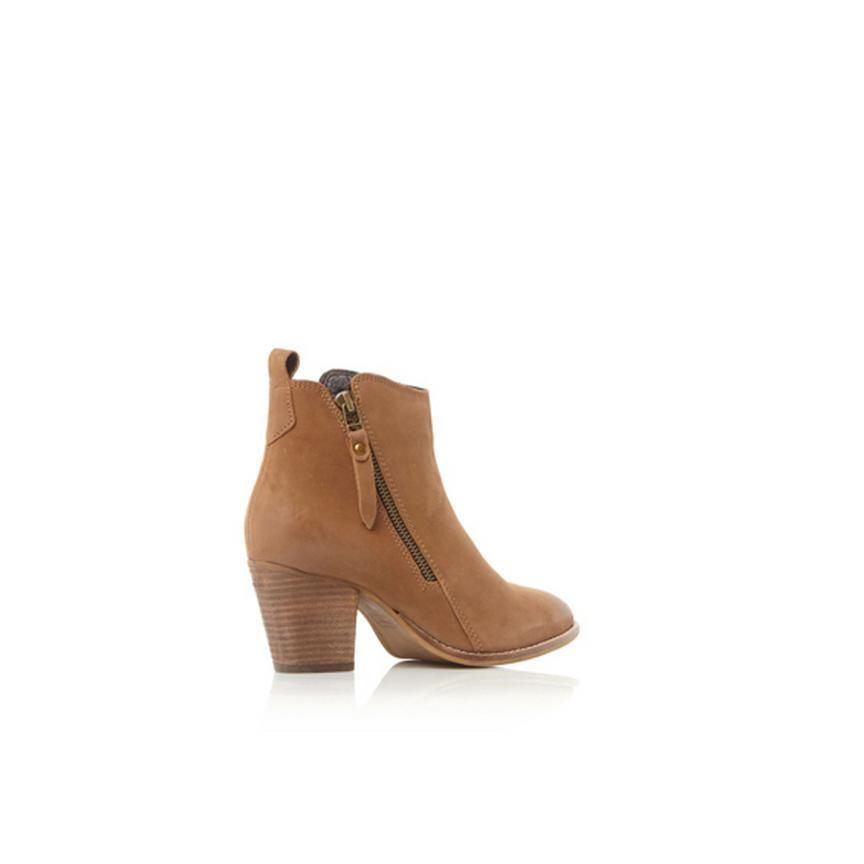 4457166827a WF PONTOON - Stacked Heel Side Zip Ankle Boot - tan