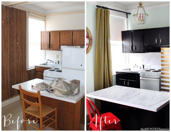 Black Kitchen with a Striped Fridge (Hunted Interior) | Diseño cocinas