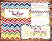 Instant Download - Teacher - Homeschool Planner  - Chevron Printable Planner Organizer  - (Organized Family Binder)