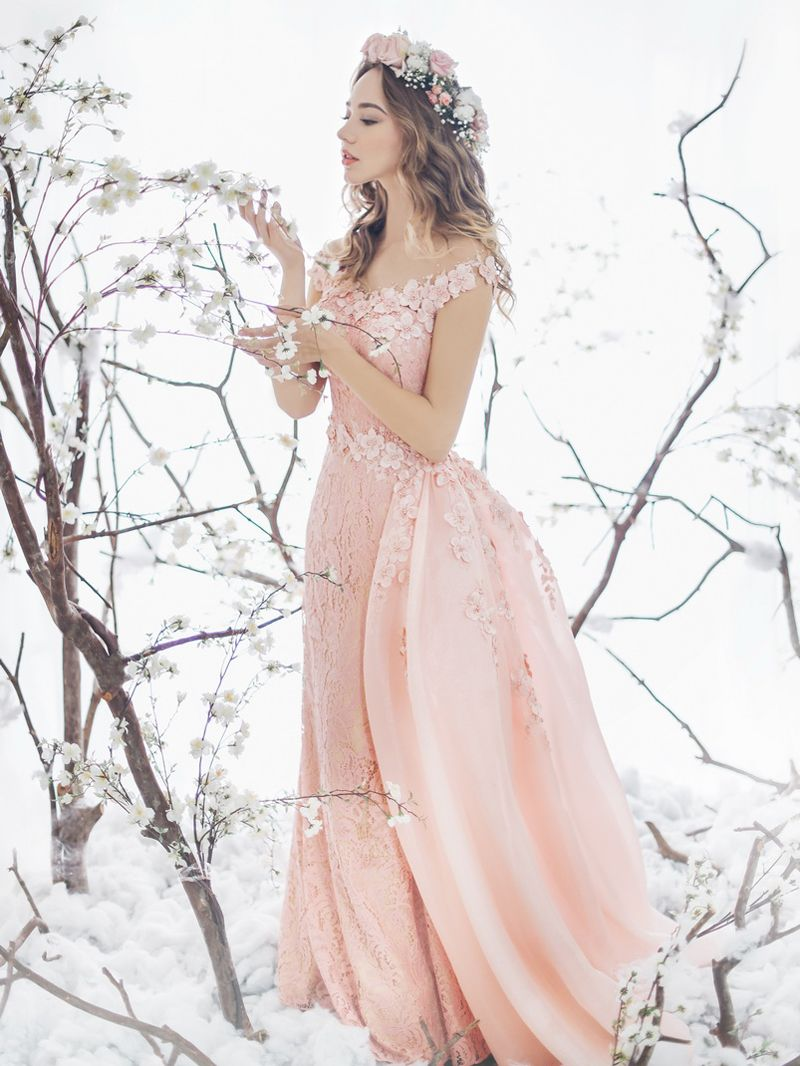 A Spring Fairy Tale 35 Enchanting Romantic Dresses For Brides: Pink Fairy Wedding Dress At Reisefeber.org