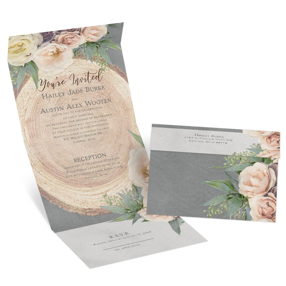 Woodland Rose Seal And Send Invitation Ann S Bridal Bargains Ann S Bridal Bargains Floral Wedding Invitations Tree Wedding Invitations
