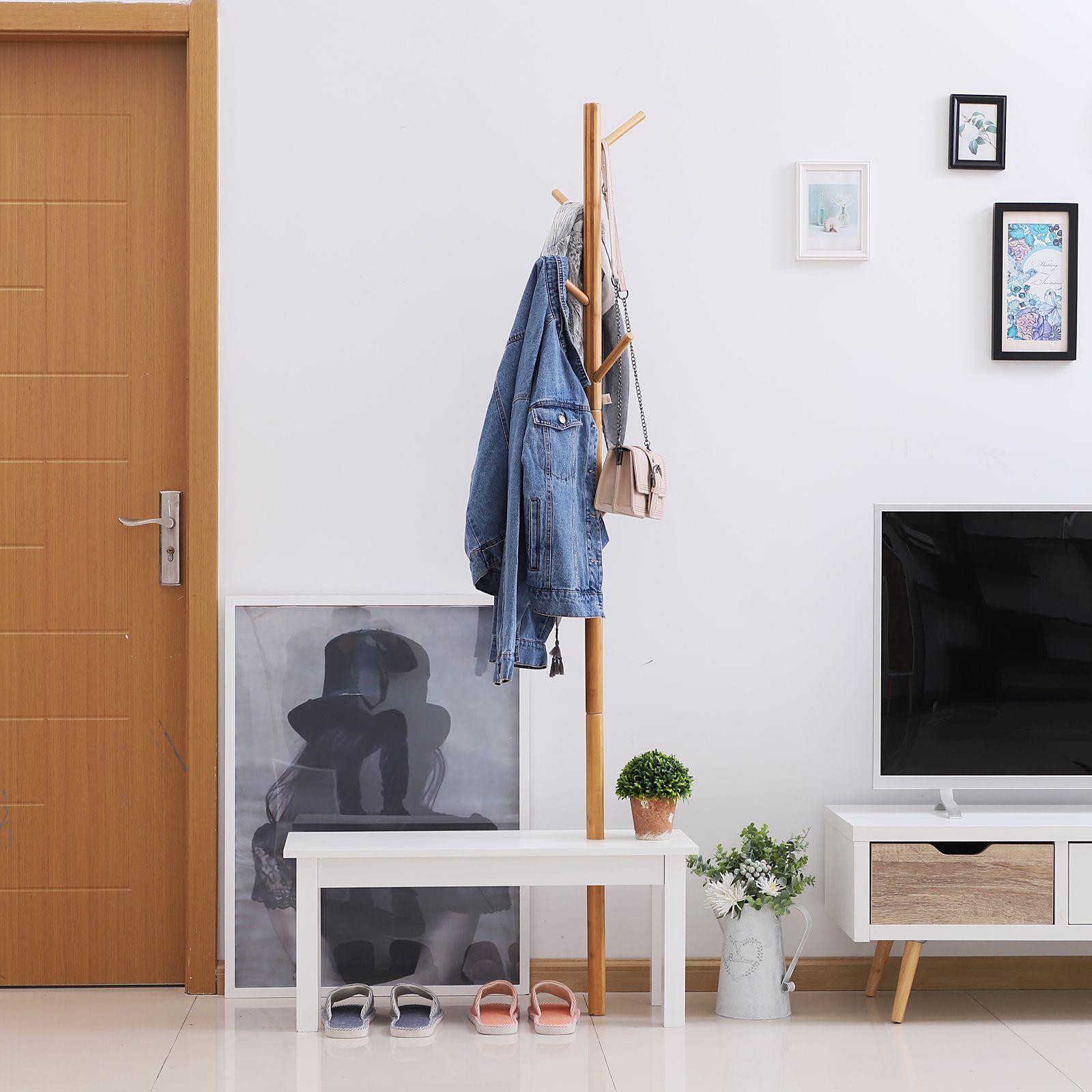 Homcom Garderobenstander Kleiderhaken Garderobe Mit Sitzbank Baum